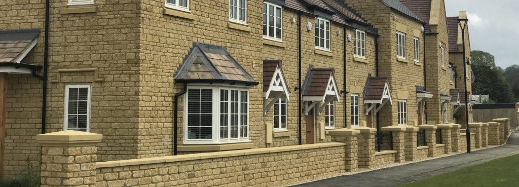 Precast stone decoration on a row of houses