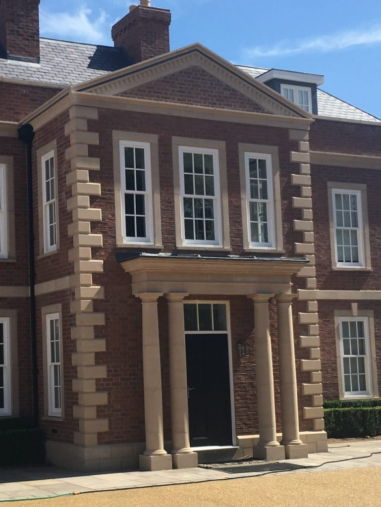 Precast stone details on a large house