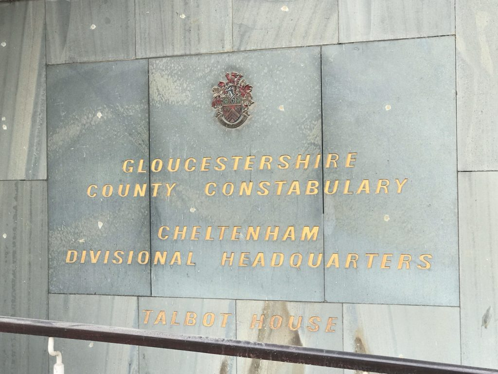 Former Police Headquarters sign, Cheltenham